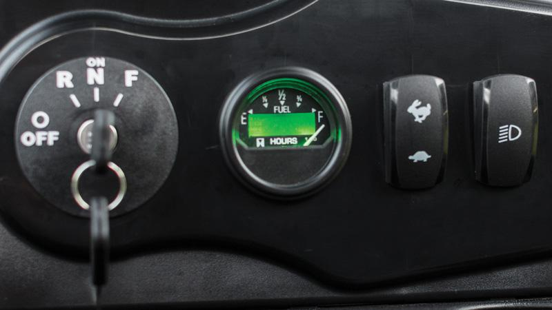 EZGO 72V personal golf cart with easy to read state of charge accessory