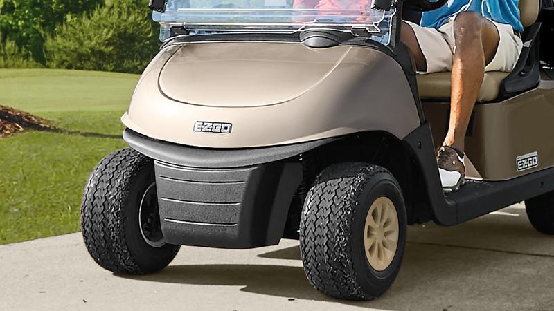 EZGO Fleet RXV electric golf cart with impact bumper.