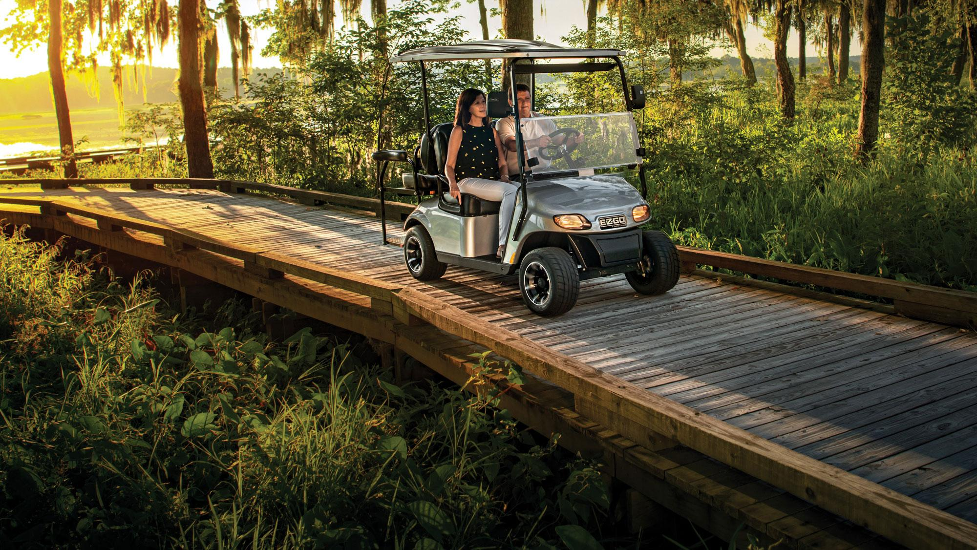 EZGO Platinum Freedom TXT Golf Cart with top and tire and wheels accessories