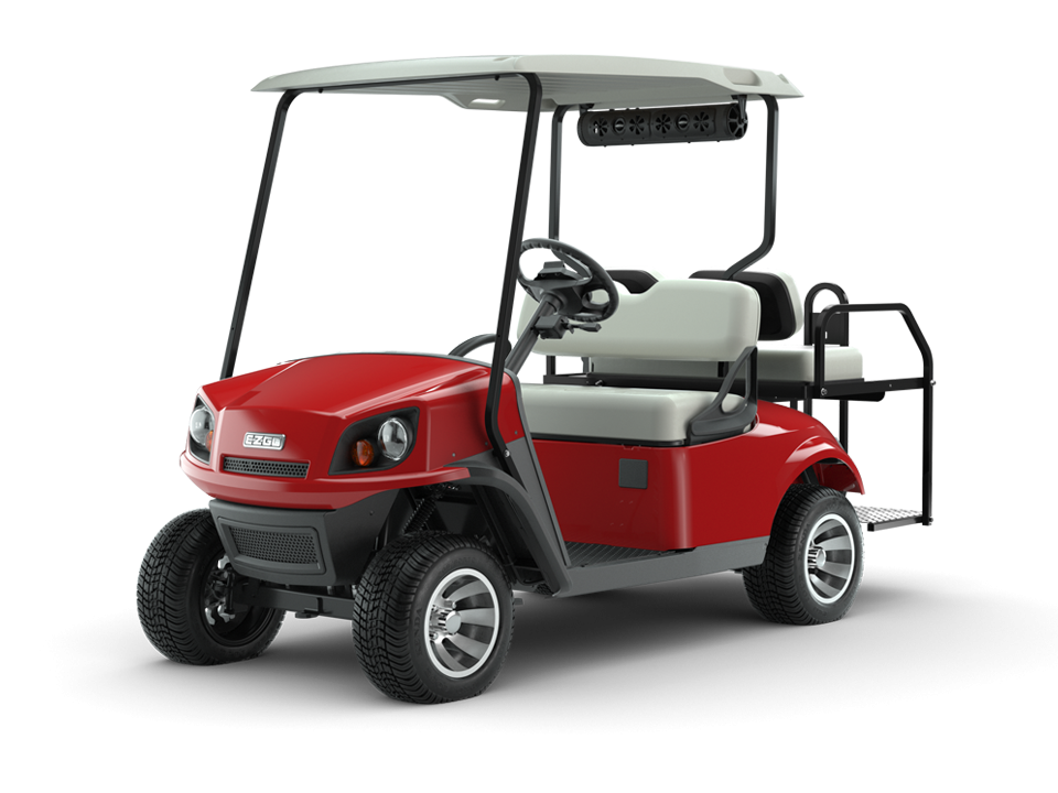 EZGO Flame Red 72V Freedom Golf Cart with Speaker and Top Accessories