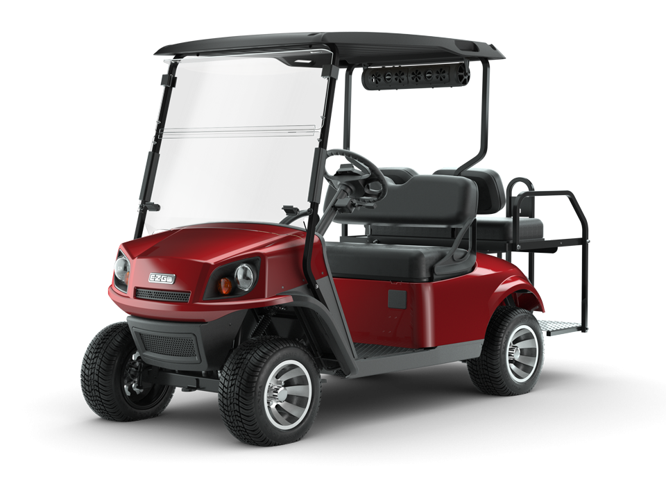 EZGO Inferno Red 72V Freedom Golf Cart with Speaker Accessory