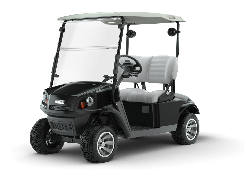 EZGO Black 72V Freedom Golf Cart with Premium Seat Accessory