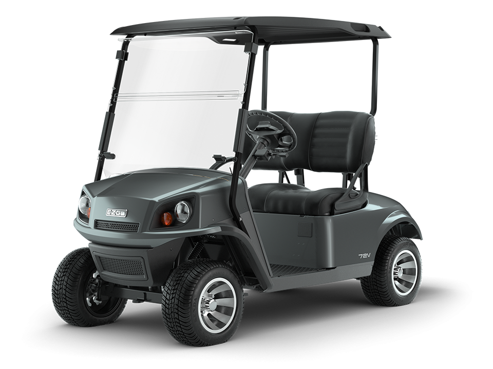 EZGO 72V metallic charcoal personal golf cart with split windshield accessory