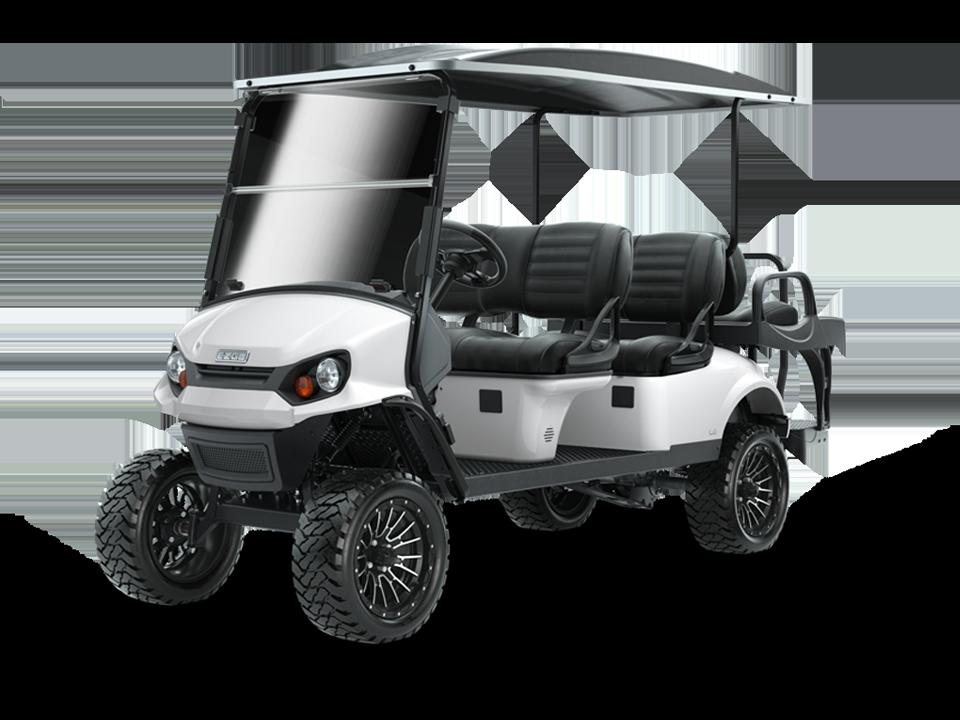 EZGO Express L6 Bright White Golf Cart with Premium Seats Accessory