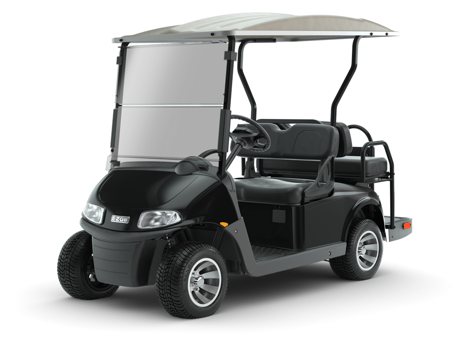 EZGO Black Freedom RXV Golf Cart with Tan Top and Windshield Accessories