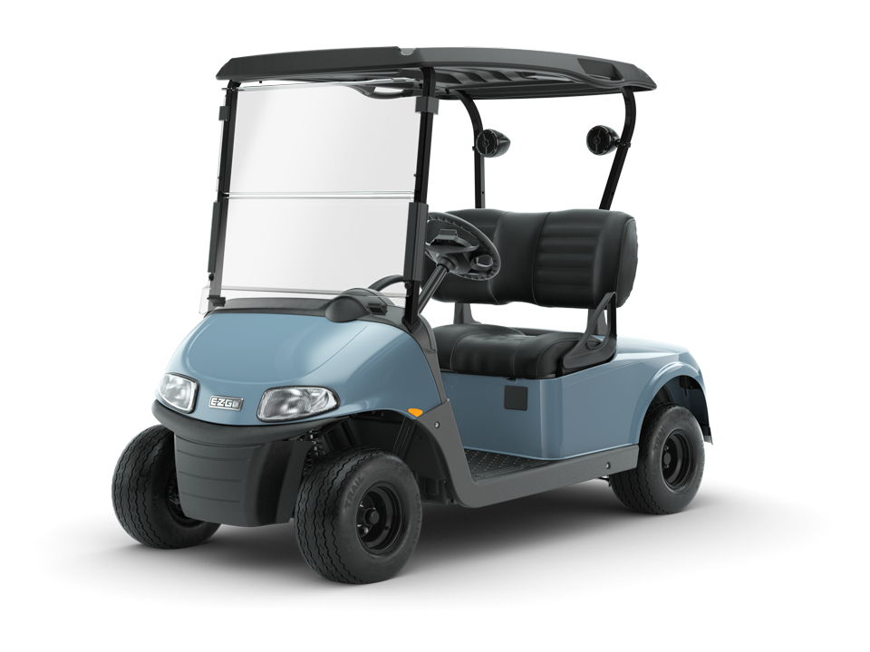 EZGO Ocean Grey Freedom RXV Golf Cart Premium Black Seats with Speaker Accessory