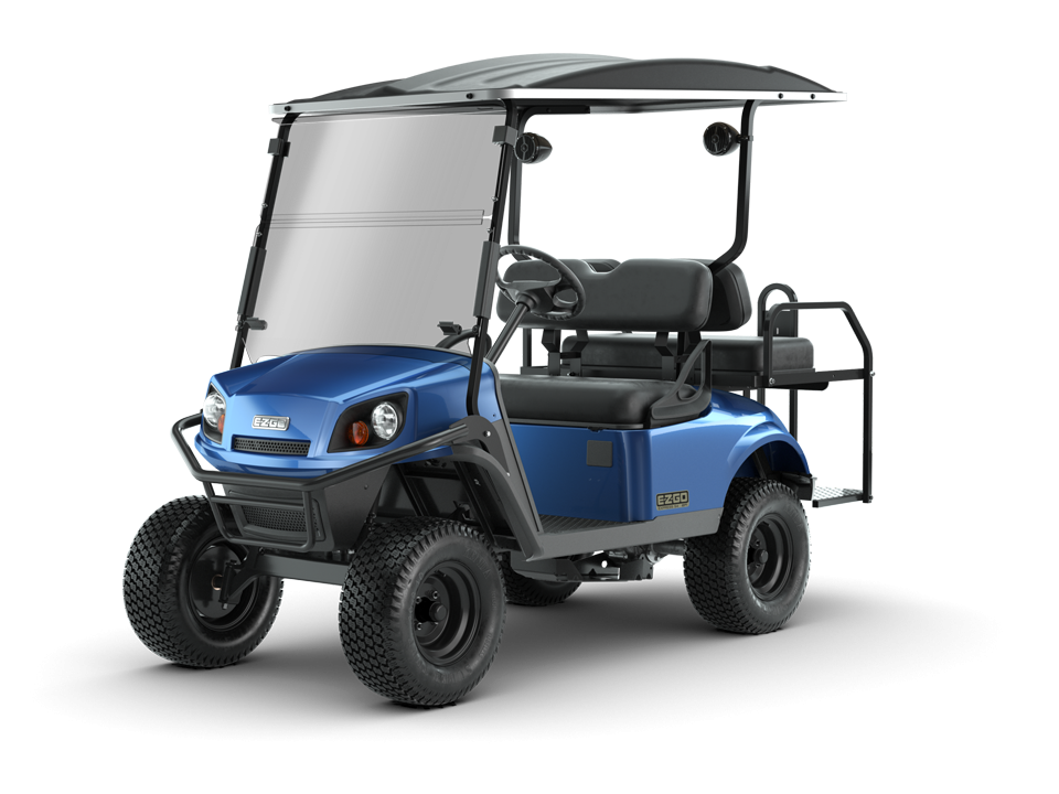 EZGO Electric Blue Express S4 Golf Cart with speaker accessories