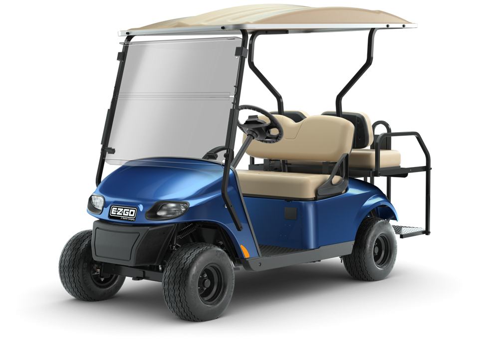 EZGO Freedom TXT Blue Golf Cart with Windshield and Top Accessories