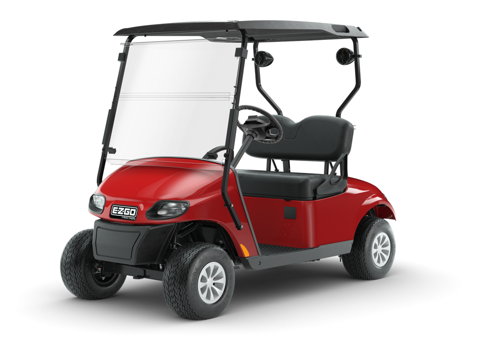 EZGO Flame Red Freedom TXT Golf CArt with Speaker accessories