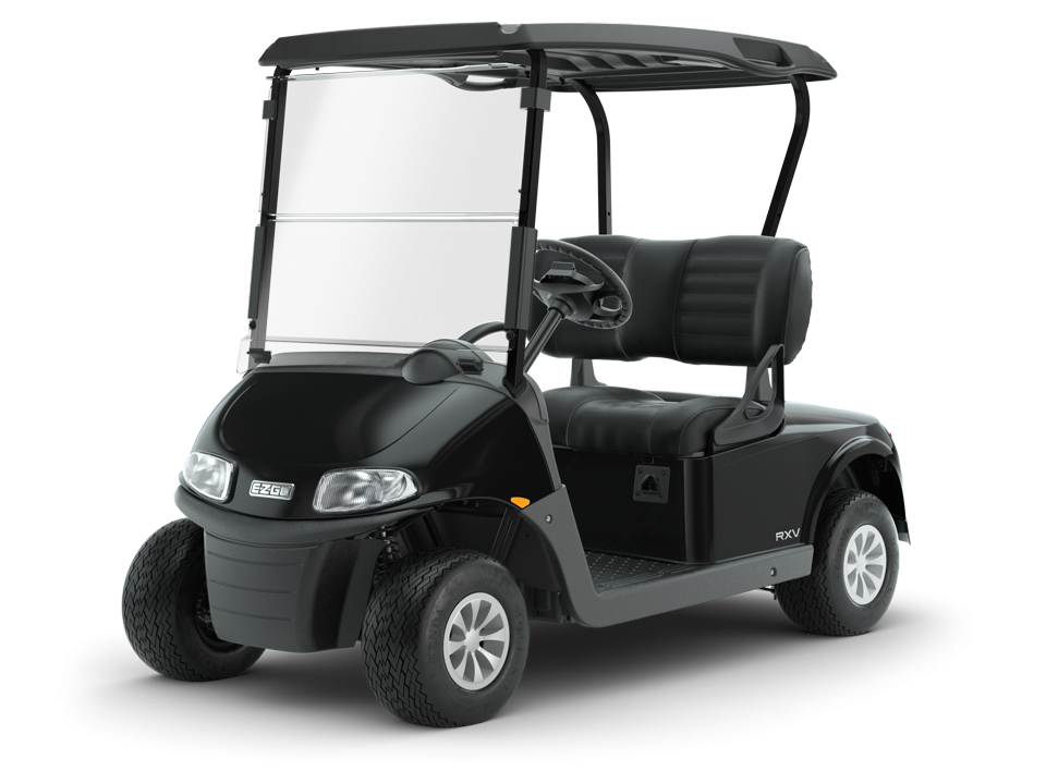 EZGO Freedom RXV Black electric golf cart with LED Lights Accessory