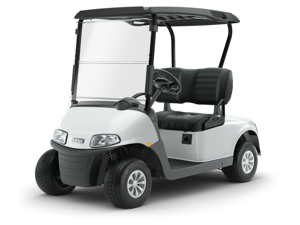 EZGO Freedom RXV Bright White electric golf cart with Golf Cart Tires Accessory