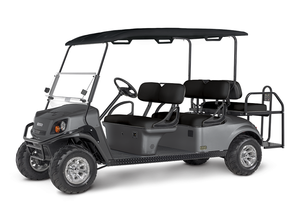EZGO S6 Metallic Charcoal with golf cart steering wheel accessory
